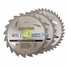 184mm TCT Circular Saw Blades 16, 24, 30T 30 Bore - 20, 16mm Rings New 3Pk