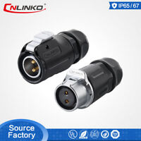 CNLinko LP20 2 Pin Waterproof Wire Power Connector Cable Male Female Mating Plug
