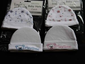 PREMATURE BABY BOY / GIRL BEANIE TYPE HATS  (TWIN PACK )