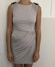 River Island Women Dress Size 8 Dove Grey Stud Spike Shoulder Gothic Punk Ruched