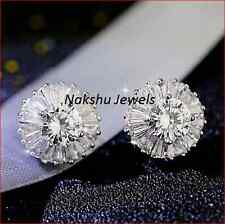 4Ct White Round Moissanite Antique Halo Stud Earrings 925 Sterling Silver