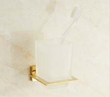 Single Cup Toothbrush Holder Set w/Toothbrush Tumbler Gold Wall Mounted SUS