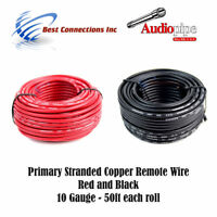 10 GAUGE BLACK & RED 50FT EACH POWER GROUND REMOTE WIRE STRANDED COPPER CLAD