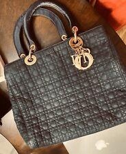 Dior Black Cannage Quilted Denim Medium Lady Dior Tote