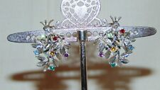 Earrings With Multi Color Stones Silver Tone Clip On Tree
