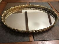 LARGE Vintage Gold Filigree Ormolu 13 x 17 Oval Vanity Tray/Mirror Holly Regency