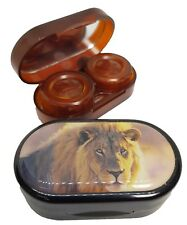 Endangered Species Mirror Case Contact Lens Soaking Storage Case - King Lion