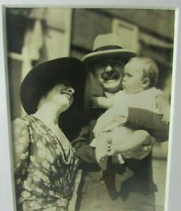"""1930s Smiling Happy Couple Holding Baby Infant  4"""" x 3"""" Photo 8x10 Mat Cute"""