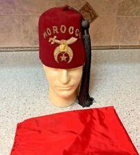 Freemason Antique Shriners Masonic Fez Morraco Hat Size 7 1/8 harry m. oser co.