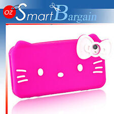 3D CUTE Hello Kitty PINK SILICONE SKIN CASE COVER FOR IPHONE 4G 4S 4GS + SP