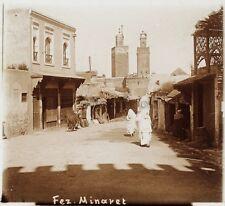 Fès Fez Minaret Maroc Photo F17 Plaque de verre Stereo Vintage