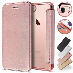 Clear Back Leather Flip Case Wallet Cover for iPhone 11 SE 12 XR 8 Plus 7 6s XS