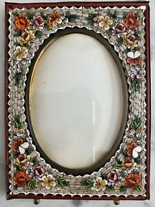 VINTAGE ITALIAN MICRO MOSAIC MINIATURE PHOTO PICTURE FRAME MADE IN ITALY