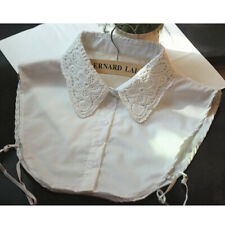 Chic Embroidery Lace Fake Collar Necklace Detachable Half Shirt Blouse White