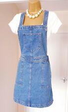 Denim Blue Cotton Summer Holiday Picnic Dunagree Pinafore Dress - Size 12