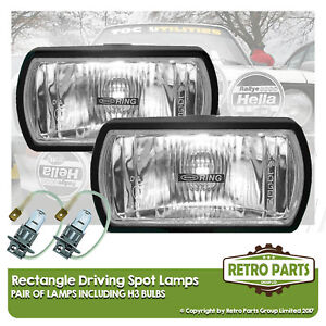 Rectangle Driving Spot Lamps for Fiat X 1/9. Lights Main Beam Extra