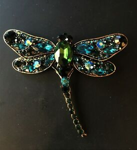 Lovely Blue & Green Sparkling Rhinestone Dragonfly Brooch /Pin