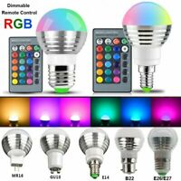E27 E14 B22 GU10 MR16 RGB LED Bulb 16 Color Remote Control Christmas Party Light
