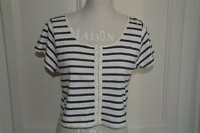 Maglia corta a righe TOPSHOP cropped striped tee top Alexa Chung UK12 IT44 EU40