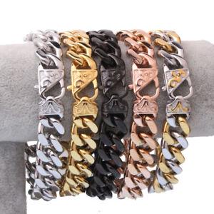 "13/15MM Fashion Stainless Steel Cuban Curb Chain Men Women Bracelet Bangle 7-11"""