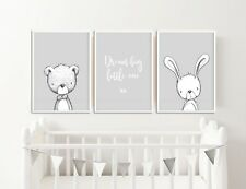 Grey Nursery Decor / Pictures / Prints / Rabbit & Bear / Dream Big Little One