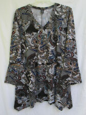 WinWin Womens 2XL-3XL Poly/Spandex Multi-Color Paisley Flare-Bottom Tunic Blouse