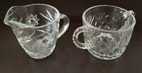Vintage Cut Glass Creamer and Sugar Bowl with No Lid NICE!