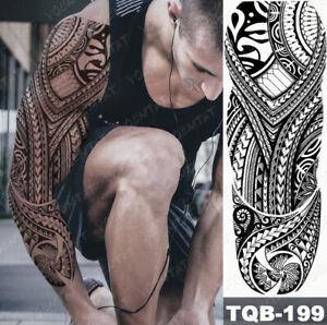 XXL Full Arm Temporäres Tattoo Maori Stil Design Körperkunst Polynesien Arm Neu