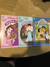 Golden Book- Lot Of 3 Snow White, Belle, Ariel, deluxe Paper doll 1697 1674 1675