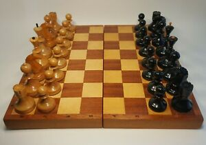 Vintage russian, completely wooden chess set. Made in USSR in in the mid-50s .