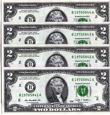 Four consecutive Series 2009 $2 New York FRB CU notes