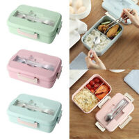 Microwave Wheat Straw Bento Lunch Box Food Storage Container Spoon Kids Adult