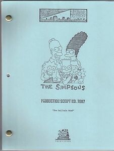"THE SIMPSONS show script ""The Telltale Head"""