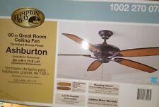 New/Unopened Hampton Bay Ashburton 60 in. Indoor Tarnished Bronze Ceiling Fan