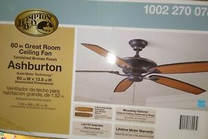 New/Unopened Hampton Bay Ashburton 60 in. Indoor Tarnished Bronze Ceiling Fan