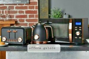 Brooklyn Black & Rose Gold Microwave, Kettle & Toaster Set + FREE CANISTERS 😍
