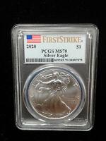 2020 1 oz .999 Silver American Eagle PCGS MS 70 First Strike