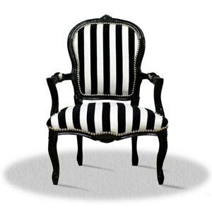 Barockstuhl schwarz weiß gestreift Salon Zebra design luxus antik repro style