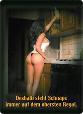 Deshalb steht Schnaps immer oben Blechschild 8x11 cm Blechkarte Sign PC-201/563