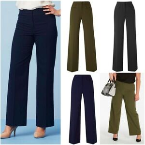 JD Magisculpt Ladies Formal Stretch Wide Leg Tailored Control Zip Trousers Size