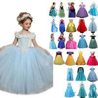 Princess Belle Cinderella Cosplay Party Costume Frozen Girls Kids Fancy Dress **
