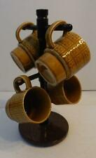 VTG SET OF 4 MADE IN JAPAN STACKABLE GOLD GLAZE COFFEE MUGS CUPS AND STAND