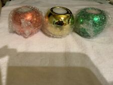 Candle Holders (3) Different Colors With Votive Candles In Each One