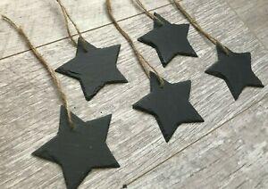 Handmade slate mini stars chalkboard name tags wedding favours christmas 9cm