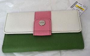New Rolfs women Leather White / Green / Pink Clutch Checkbook Wallet Organizer