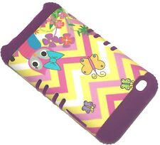 iPod Touch 4th Gen - HARD & SOFT HYBRID CASE PURPLE CHEVRON WAVES OWL BUTTERFLY