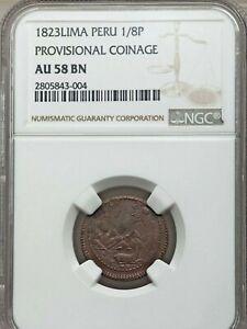 1823 Peru Lima Provisional 1/8 Peso, NGC AU 58