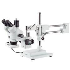 Amscope 7x 45x Simul Focal Fluorescent Trinocular Boom Stereo Microscope