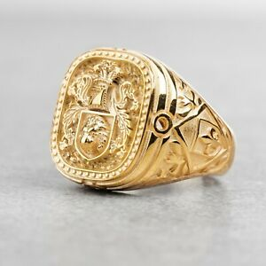 Custom Family Crest Ring Coat Of Arms Gold Ring Personalized Signet Ring Man Gif