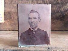 Vintage Copper Newspaper Ink Plate Type On Wood Block ,  Reverend Portrait